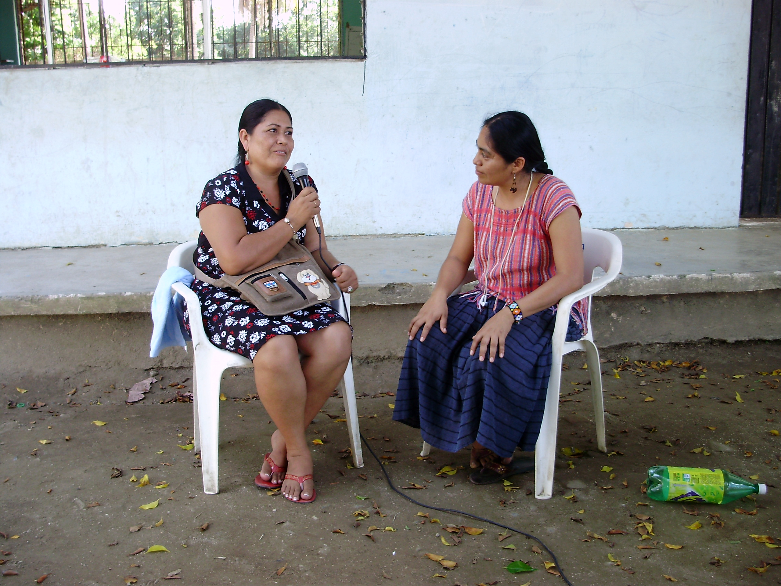 2 women conducting a Palabra Radio interview