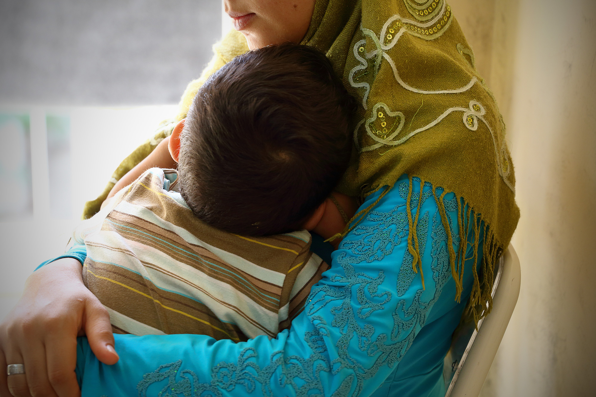 Syrian Refugee mother and child in Europe