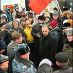 Indigenous peoples protest oil and gas developments on Sakhalin Island in January 2005.