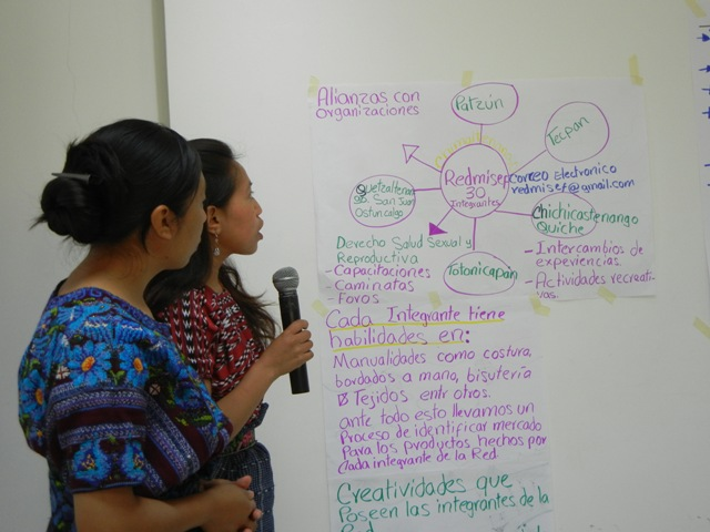 Indigenous women looking at a brainstorming diagram