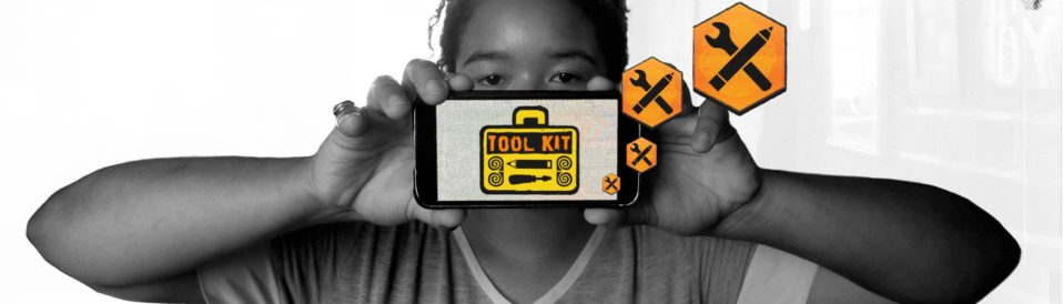 Woman holding toolkit image