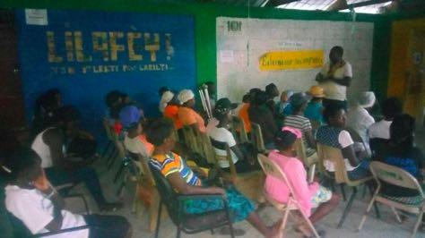 Screening of The Uncondemned at Sakala in CiteSoleil, Haiti, with members of the women's organizations KOFAVIV and FAVILEK.