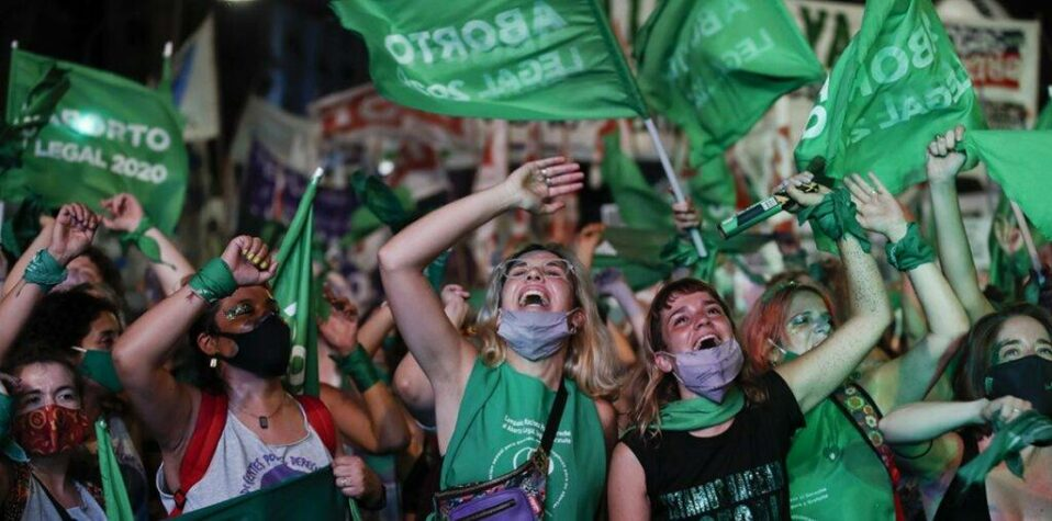 Young feminists in Argentina celebrating legalization of abortion